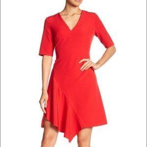 NWT Maggy London Red Ruffle Asymmetrical Hem Dress